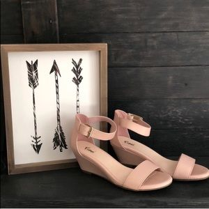 Nude blush demi-wedges with ankle straps